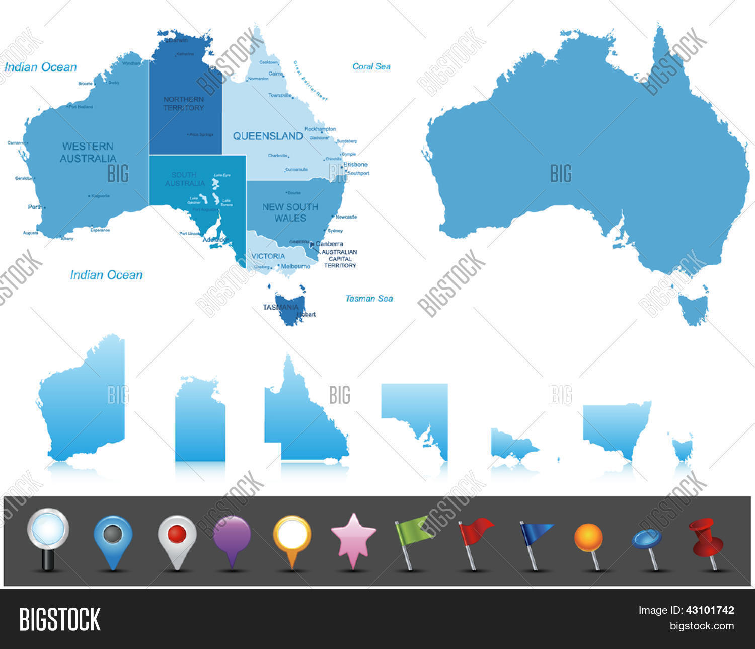 Australia Map Labeled.Australia Highly Vector Photo Free Trial Bigstock