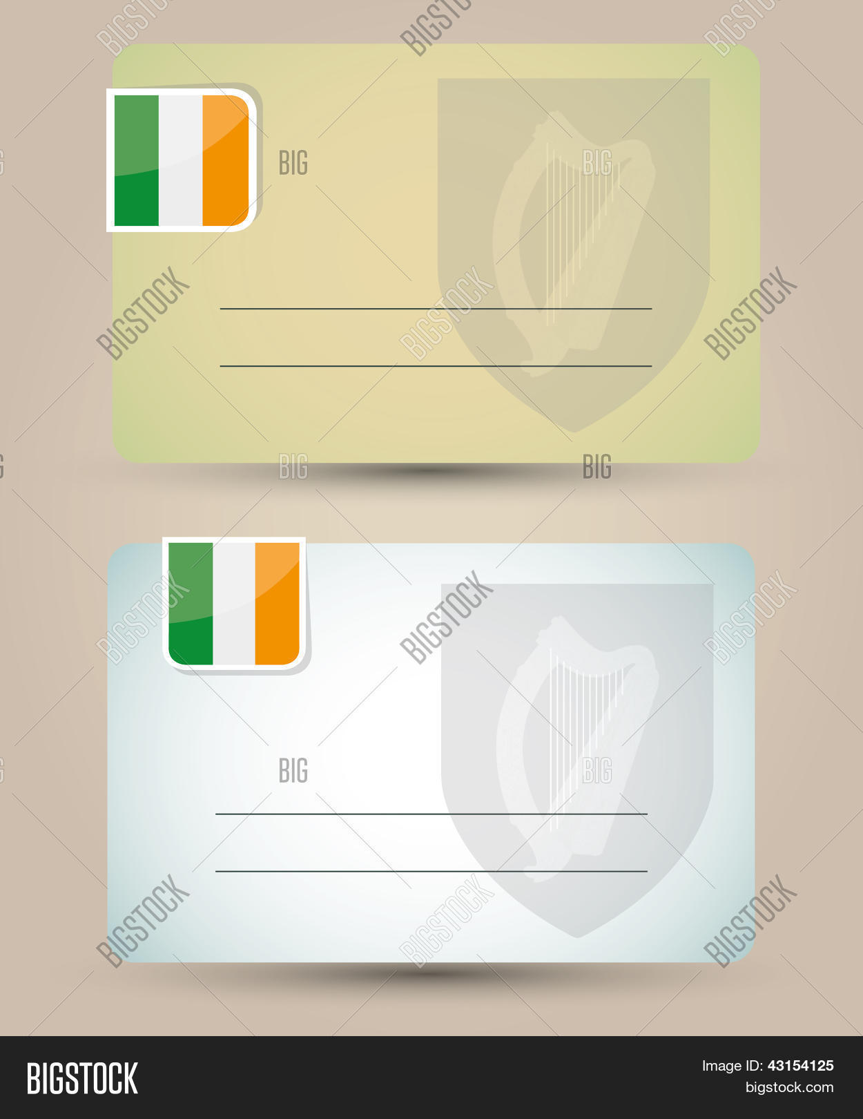 Business card flag vector photo free trial bigstock business card with flag and coat of arms of ireland reheart Gallery