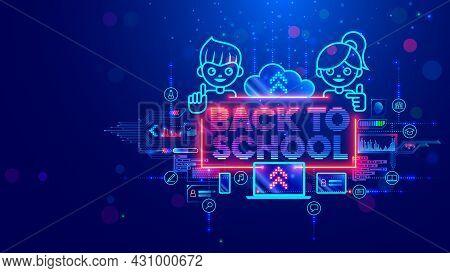 Online Education Of Children On Computer Through Internet Web Platform. Back To School. Technology R
