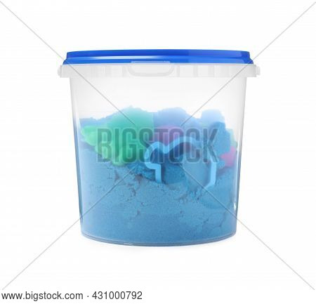 Kinetic Sand And Toy In Bucket Isolated On White