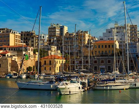 Heraklion, Greece - August 20, 2021 - The Famous And Historical Port Of The City Of Heraklion On The