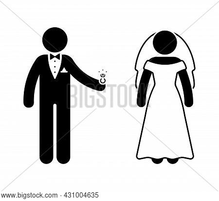 Stick Figure Groom, Fiance And Bride At Wedding Ceremony Vector Icon Illustration. Newlyweds With Di