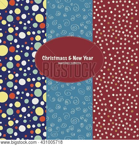Set Of Seamless Patterns With Handmade Paper Circles For Christmas And New Year