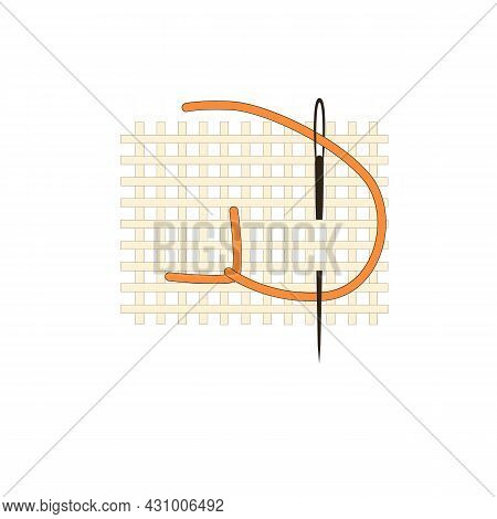 Fragment Of Embroidery On Canvas. Embroidery On Canvas. Orange Thread. Thread Stitch. Isolated On A