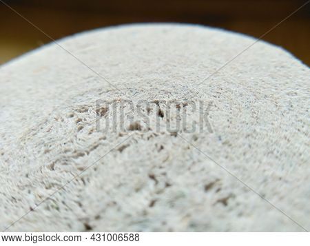Macroshot Texture Of Toilet Paper From Recycled Materials With Copy Space. Selective Focus Surface O