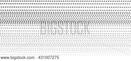 Dotted Straight Horizontal Strips. Vector Black, Gray Spots, Fade Gradient, White Background. Techno