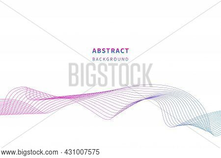 Abstract Wavy Stripes. Colorful Wave Lines Isolated White Background. Wave Of The Many Colored Lines