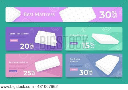 Set Of Online Mattress Web Pages Vector Flat Illustration Sale Discount Internet Shopping Promotion