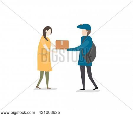 Woman received the parcel from the postman illustration