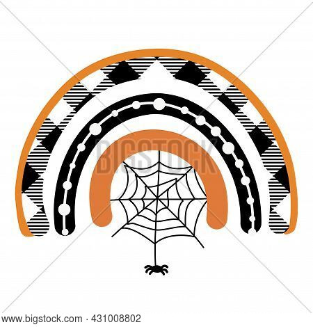 Autumn Colored Rainbow With Hanging Spider - Good For Thanksgiving Or Halloween Decoration, Poster,