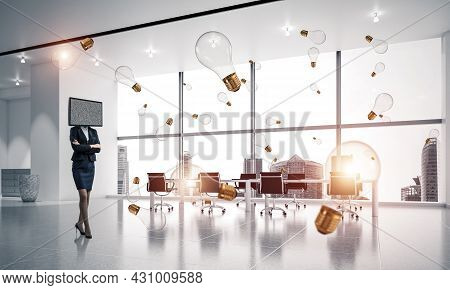 Business Woman In Suit With Tv Instead Of Head Keeping Arms Crossed While Standing Among Flying And