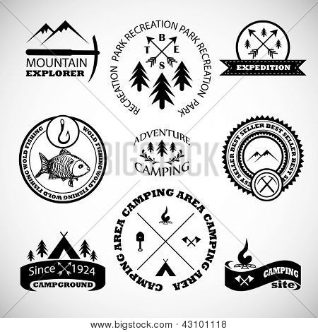 Camping labels set. poster