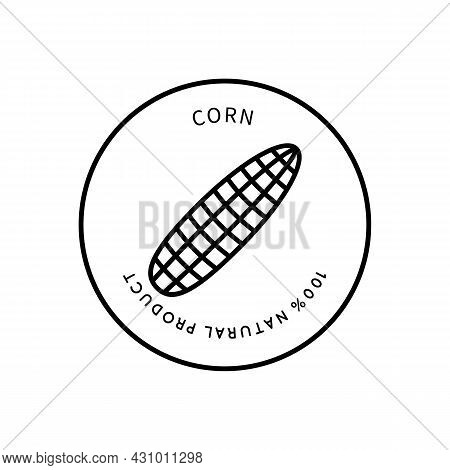 Line Icon Corn In Simple Style. Natural Product. Vector Sign In A Simple Style Isolated On A White B