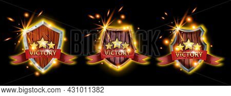 Victory Game Badge Icon Set, Vector Ui Winner Medal Kit, Wooden Medieval Shield, Star, Sparks, Fire.