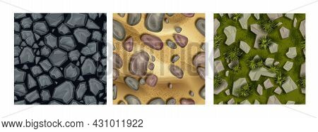 Game Ground Seamless Texture Set, Soil Stone Pattern Collection, Nature Environment Surface Tile. Gr