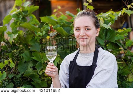 Portrait Of Young Smiling Woman Winemaker On The Vineyard. Small Business Concept