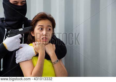 Bandit With A Gun To Robbing A Woman, Thief Armed Man Rob Woman By Gun