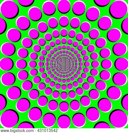 Peripheral Drift Illusion, Pdi, A Motion Illusion On Green Background. It Seems, The Colorful Magent
