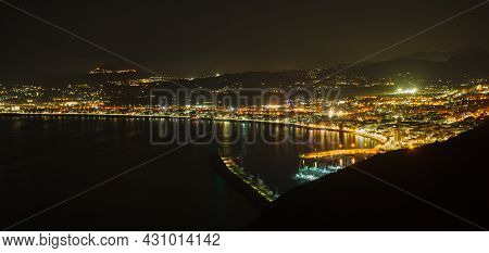 Javea Town At Night On Cape San Antonio. Mediterranean Coastline On Costa Blanca. North Coast Of Ali