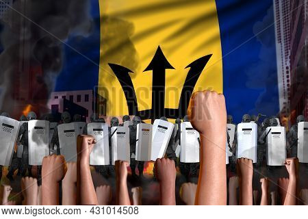 Protest In Barbados - Police Swat Stand Against The Angry Crowd On Flag Background, Revolt Fighting