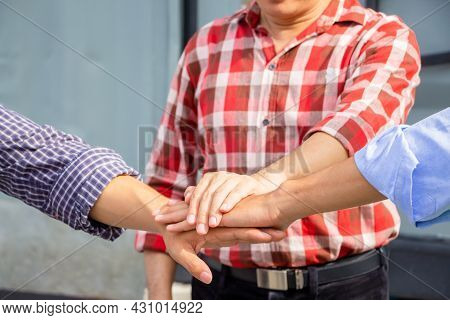 Engineer Man And Worker Team Joining Hands Together At Construction Site, Business People Joining Ha