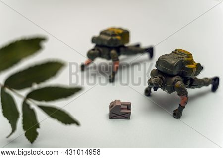 Creative Composition, Soldiers Do Push-ups , Army Soldiers In Full Gear Undergo Heavy Training And D