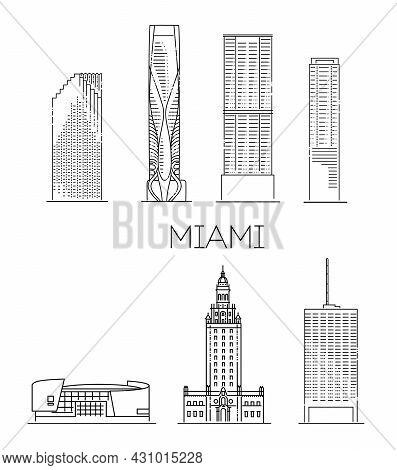 Miami City, Florida, Icons. Miami Detailed Monuments Silhouette