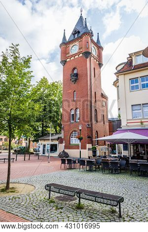 Gronau, Germany - August 26, 2021: Cityscape Of Gronau With Historic City Hall Tower In North Rhine-