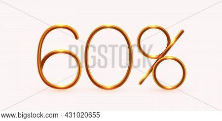60 Percent Off. Discount Creative Composition. Mega Sale Or 60 Percent Bonus Symbol.