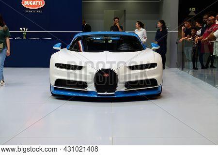 Dubai, Uae - November 16: The Bugatti Chiron Sportscar Is On Dubai Motor Show 2019 On November 16, 2