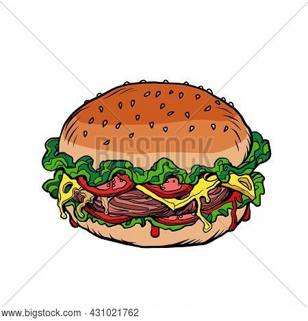 Fast Food Burger Is An Appetizing Street Food. Bun With Filling