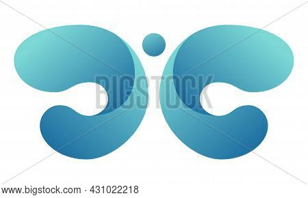 Abstract Logo, Sign. Gradient Butterfly In Turquoise Colors. Vector Logotype Icon. Isolated On White