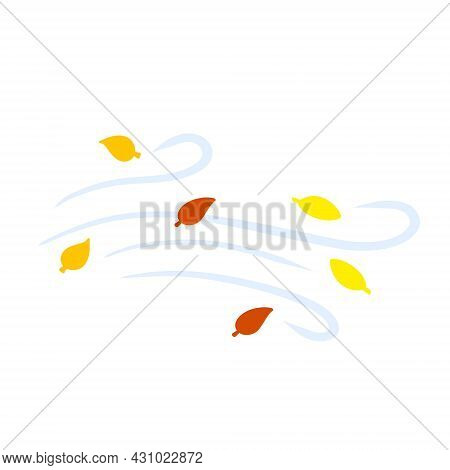 Autumn Wind. Stream Of Air With Red And Yellow Leaves. Blue Wavy Line. Breeze And Weather Icon. Leaf