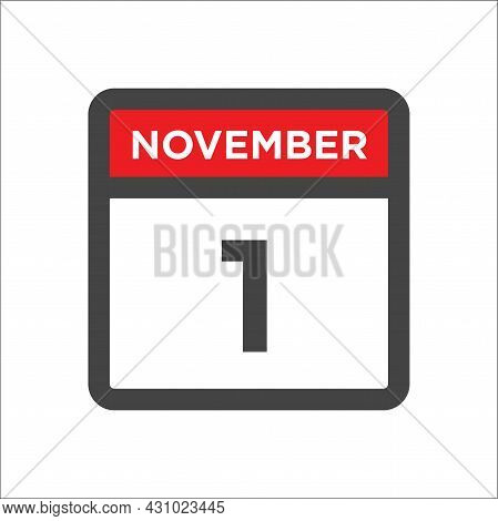 November 1 Calendar Icon W Day Of Month
