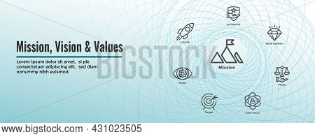 Mission Vision And Values Web Header & Icon Set