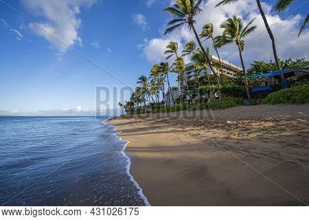 Early Morning Sunshine Paints The Lush Palm Trees And Dense Foliage On Ka'anapali Beach In Lahaina,