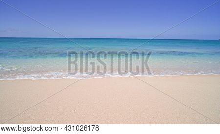 Blue Ocean, Yellow Sandy Beach Nature Tropical Islands Oahu Hawaii. Pacific Ocean. Turquoise Sea Bac