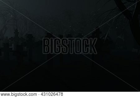 A Foggy And Gloomy Horror Cemetery 3d-rendering