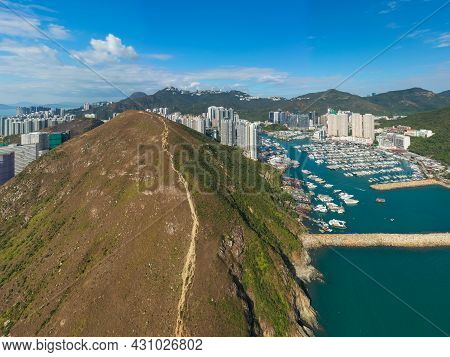 Aerial View Of Aberdeen Typhoon Shelters And Ap Lei Chau Seen From Mount Johnston, Also Known As Yuk