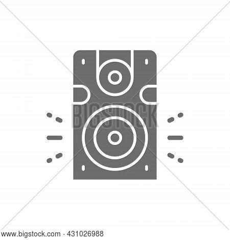 Speaker, Subwoofer, Audio Equipment Grey Icon. Isolated On White Background
