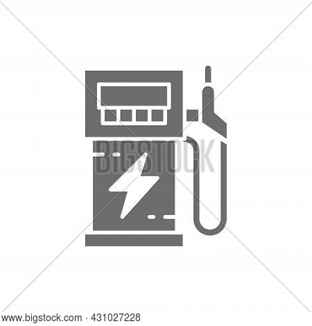 Electric Car Charging Station, Vehicle Eco Refueling, Power Supply Grey Icon.