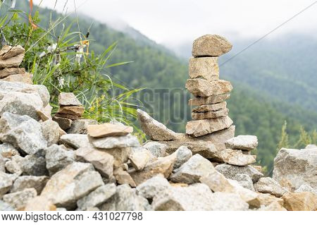 Yramid-shaped Stones In The Mountains, Bonded Stones Stacked Close Together