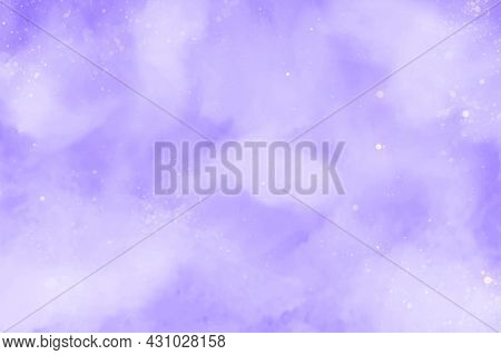 Purple Or Violet Abstract Watercolor Vector Background. Snowfall On A Cold Blue Winter Background. H