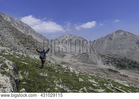 Hiker With Hands Up, West Side Of Rocky Mountain National Park, Lead Mountain And Never Summer Peak