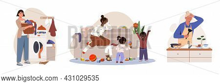 Hard Housework Set. Collection Of Women Washing Clothes And Dishes And Playing With Young Children.