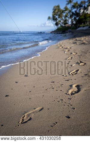 Lone Footprints Mark An Otherwise Pristine Beach That Had Its Blemishes Erased From The Previous Nig