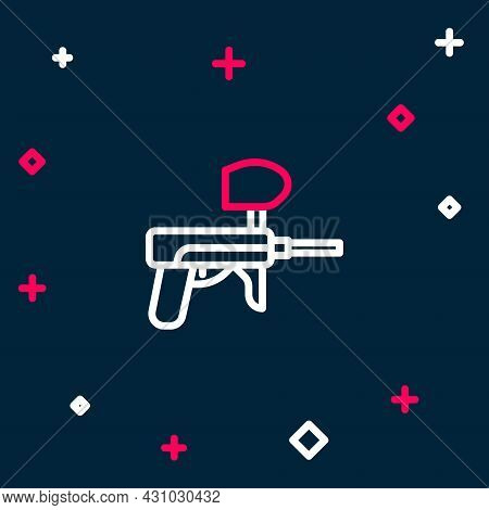 Line Paintball Gun Icon Isolated On Blue Background. Colorful Outline Concept. Vector