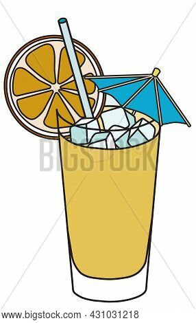 Stylish Hand-drawn Doodle Cartoon Style Yellow Screwdriver Cocktail In Highball Glass Garnished With