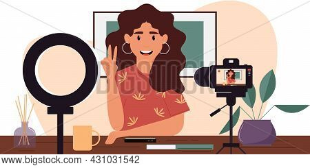 Young Female Blogger Records Herself On Video Using A Video Camera And A Light Lamp. Vector Characte