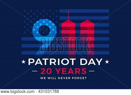 9 11 Patriot Day 20 Years Usa - Patriotic Background Dark Blue Vector